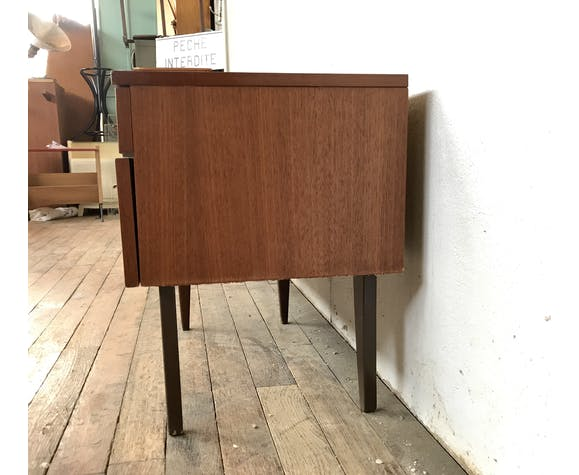Meuble tv hifi enfilade scandinave 1960 vintage en teck - vintage - pieds fuseaux