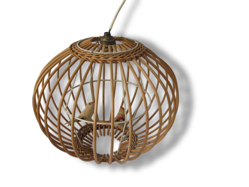 cool suspension rotin cage oiseau vintage with lustre cage oiseau. Black Bedroom Furniture Sets. Home Design Ideas