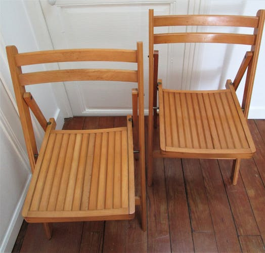 Paire de chaises pliantes bois massif vintage