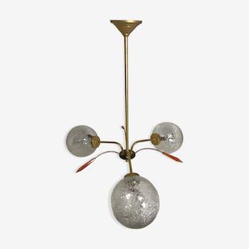 Suspension boules  laiton et verre années 70 vintage