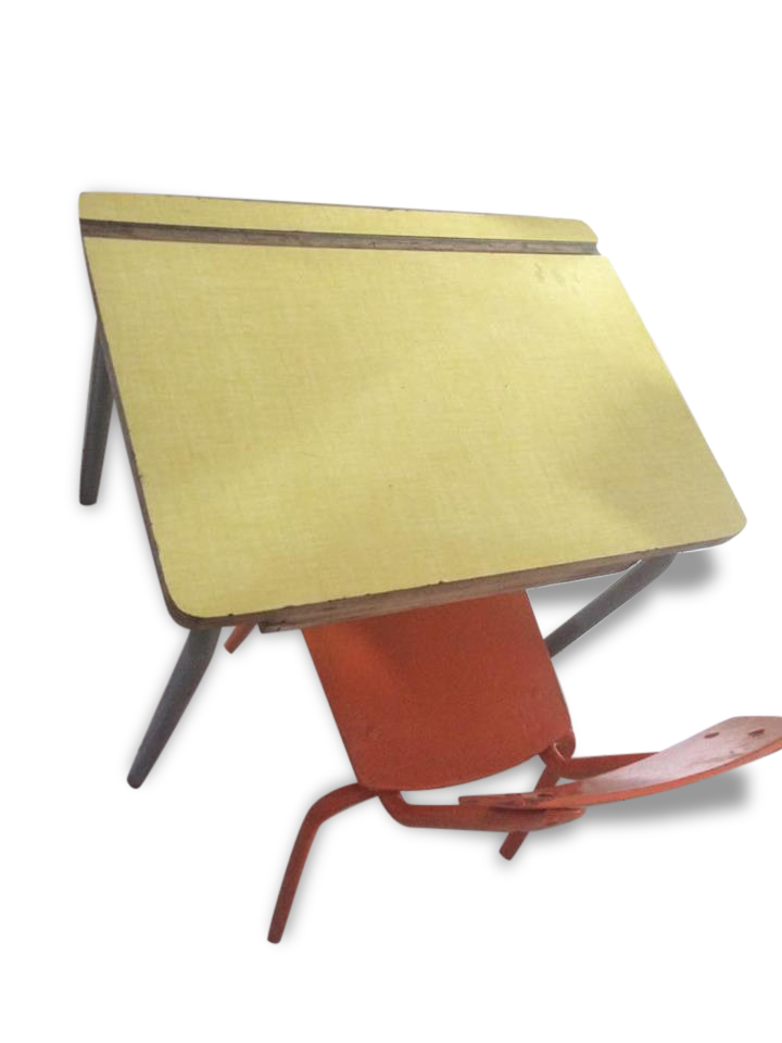 Bureau ecolier formica et sa chaise bois matériau jaune