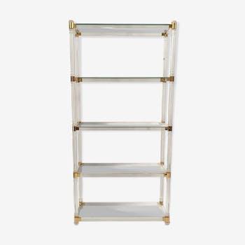 Ground cylindrical plexiglass shelf and brass ornaments