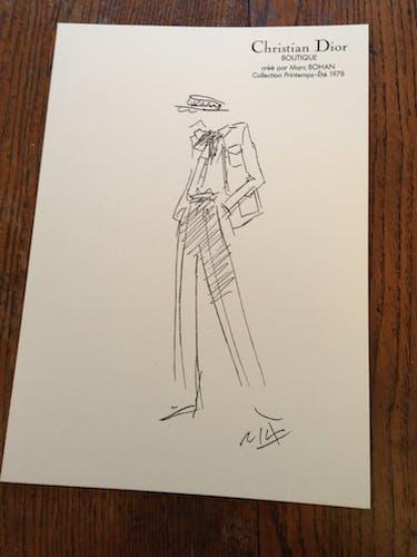 Christian Dior, illustration de mode de presse collection printemps - été 1978