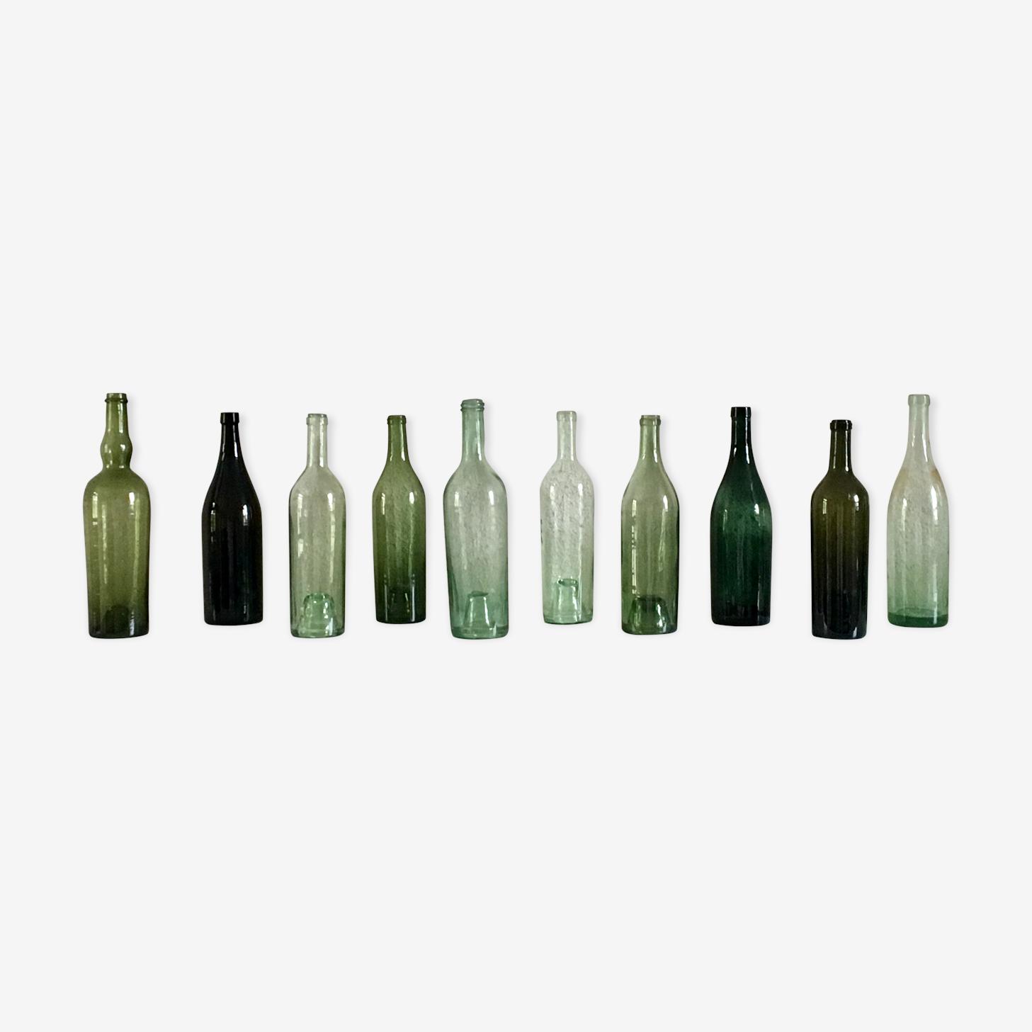 Series of ten old bottles
