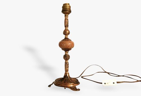 Lampe de table rétro en étain