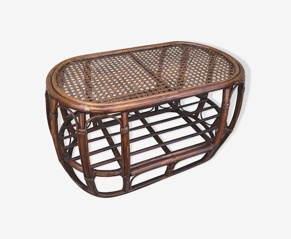 Old Rattan Coffee Table 70s