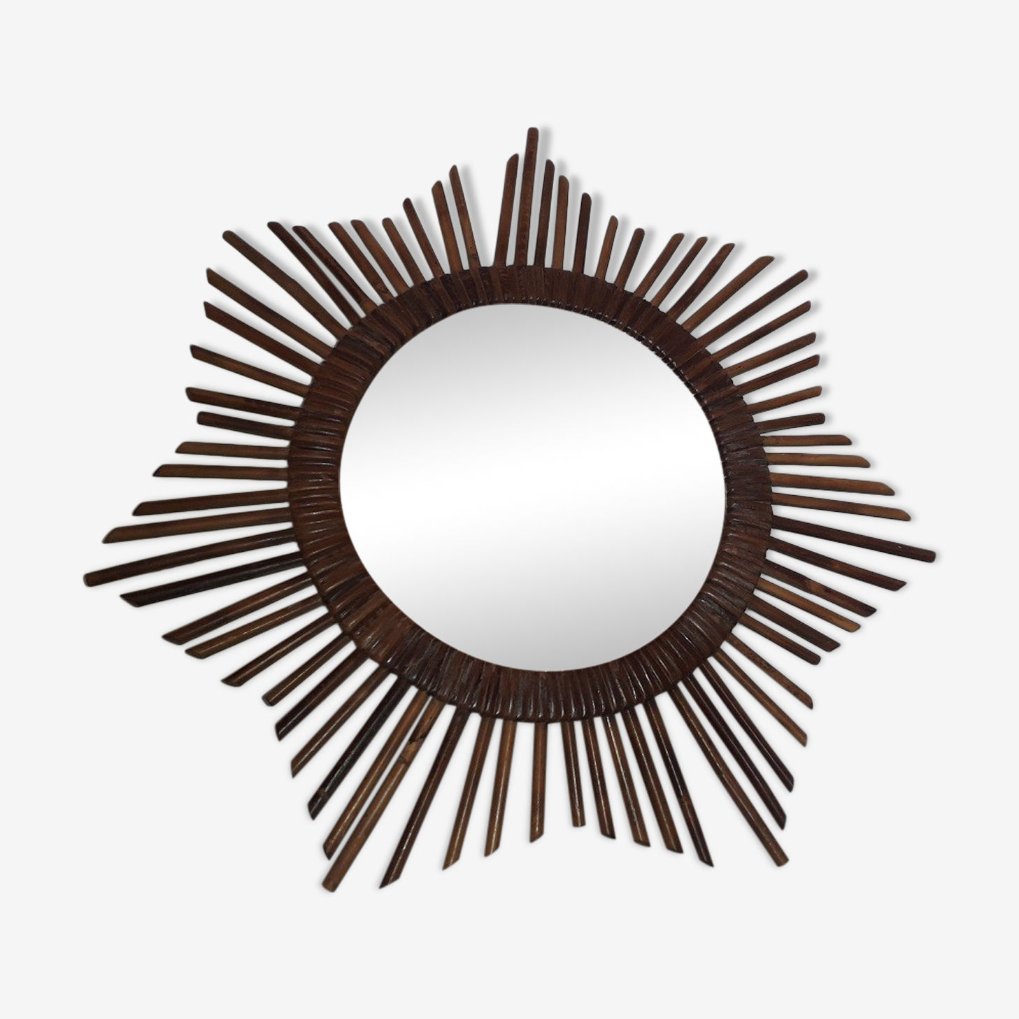 Miroir soleil en rotin 50x50cm