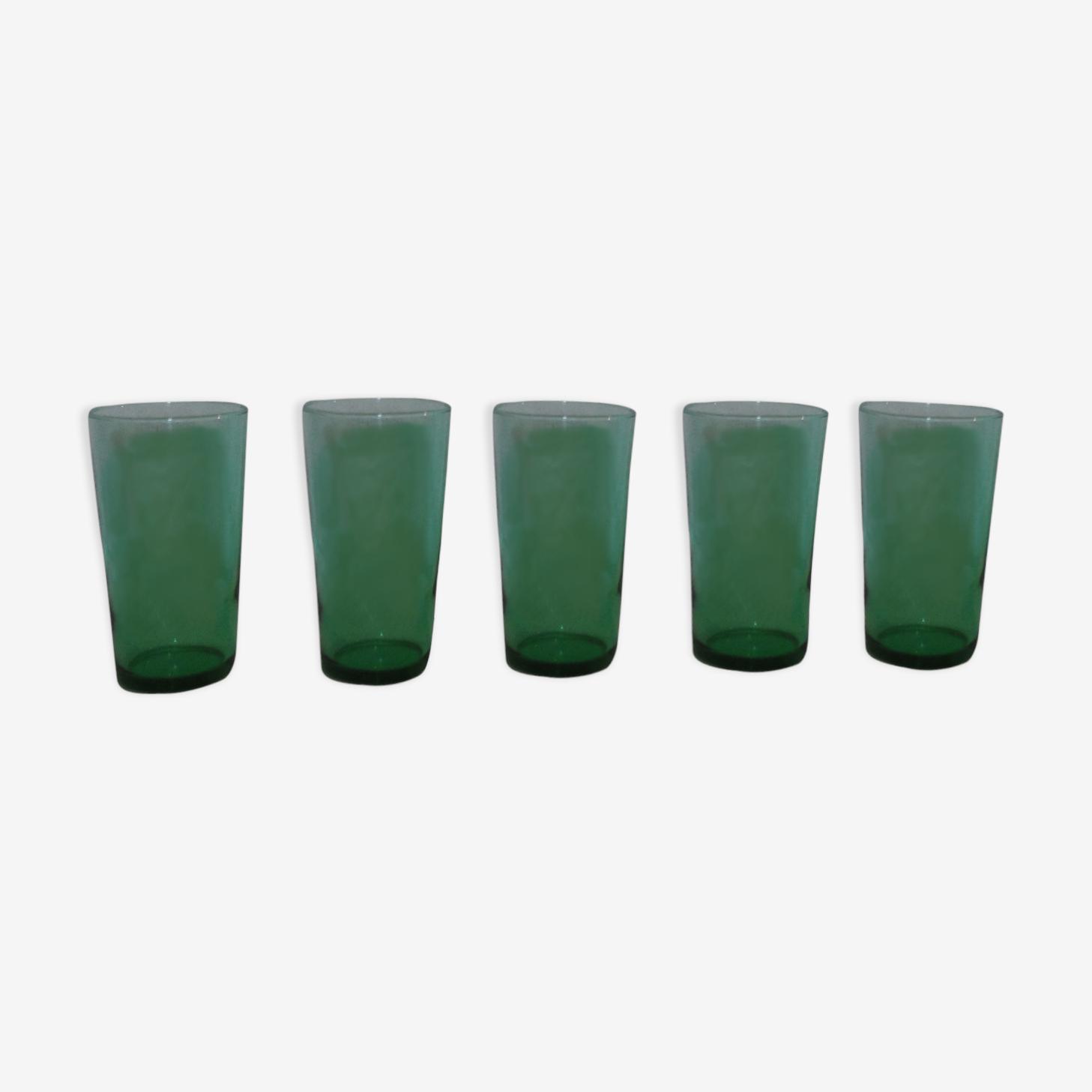 Set de 5 Green lemonade glass
