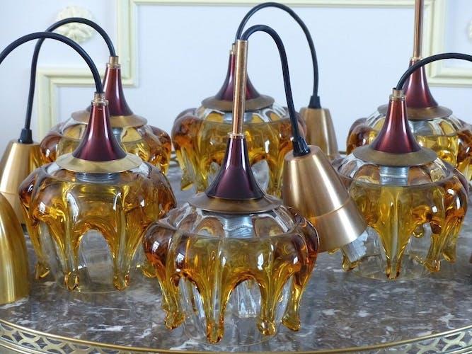 Suspension en verre soufflé bouchecOberglas Autrichec1960.