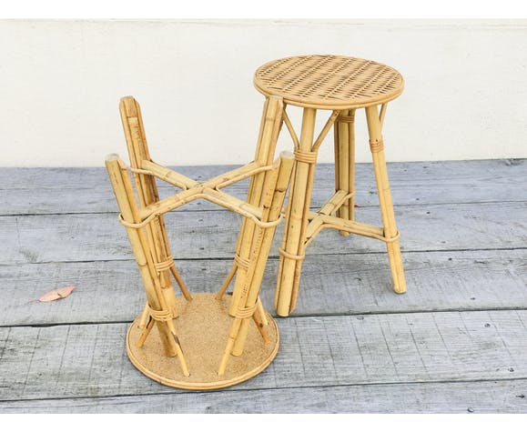 Pair of vintage bamboo stools