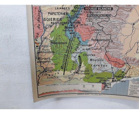 Carte scolaire vintage les Alpes « région alpestre »