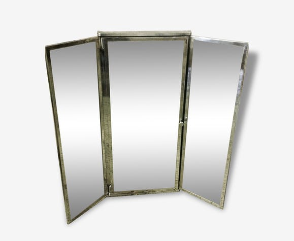 Armoire triptyque de salle de bain miroir art deco Chrome - métal ...