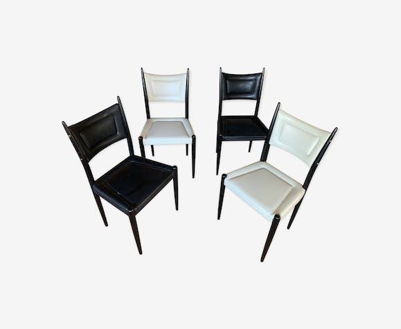 Lot de 4 chaises gplan en skaï