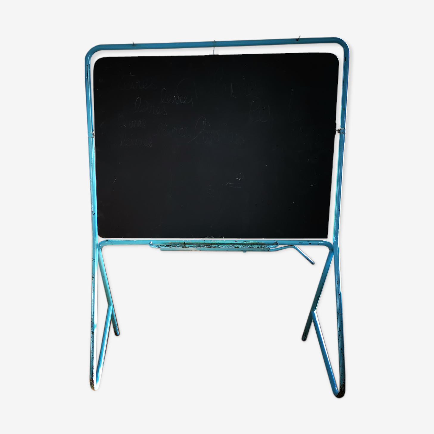Tableau Noir D Ecole Pivotant Fer Bleu Vintage Zqbjiwq