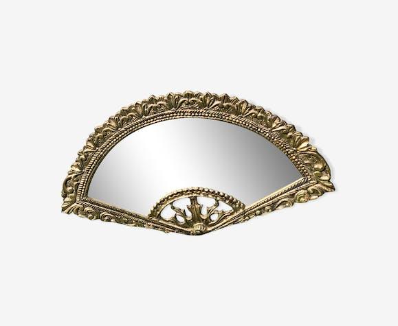 Brass fan mirror 30x15cm