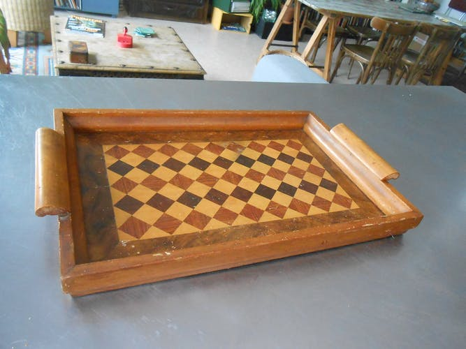 A marquetry tray with diamond decor