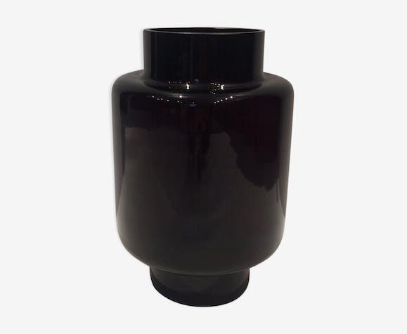 Dark red glass vase 1970