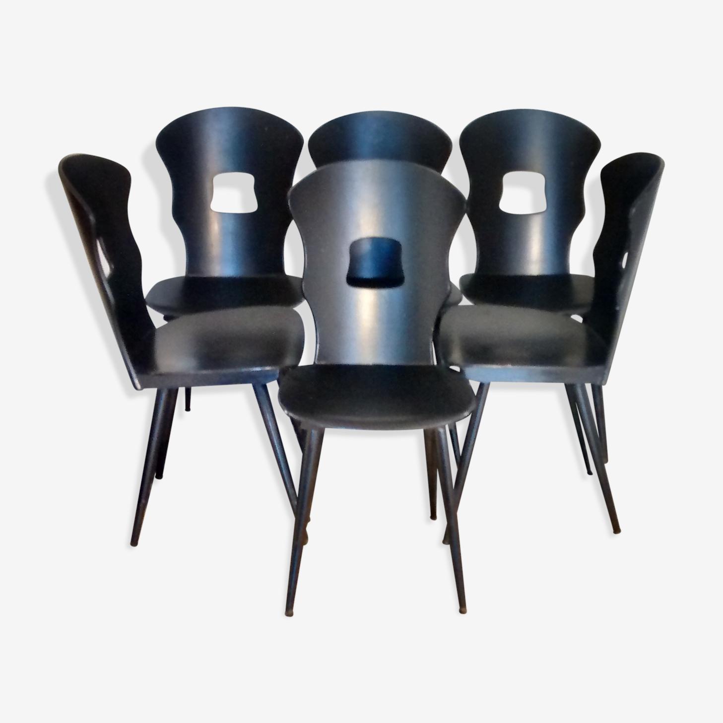Ensemble de six chaises baumann gentiane