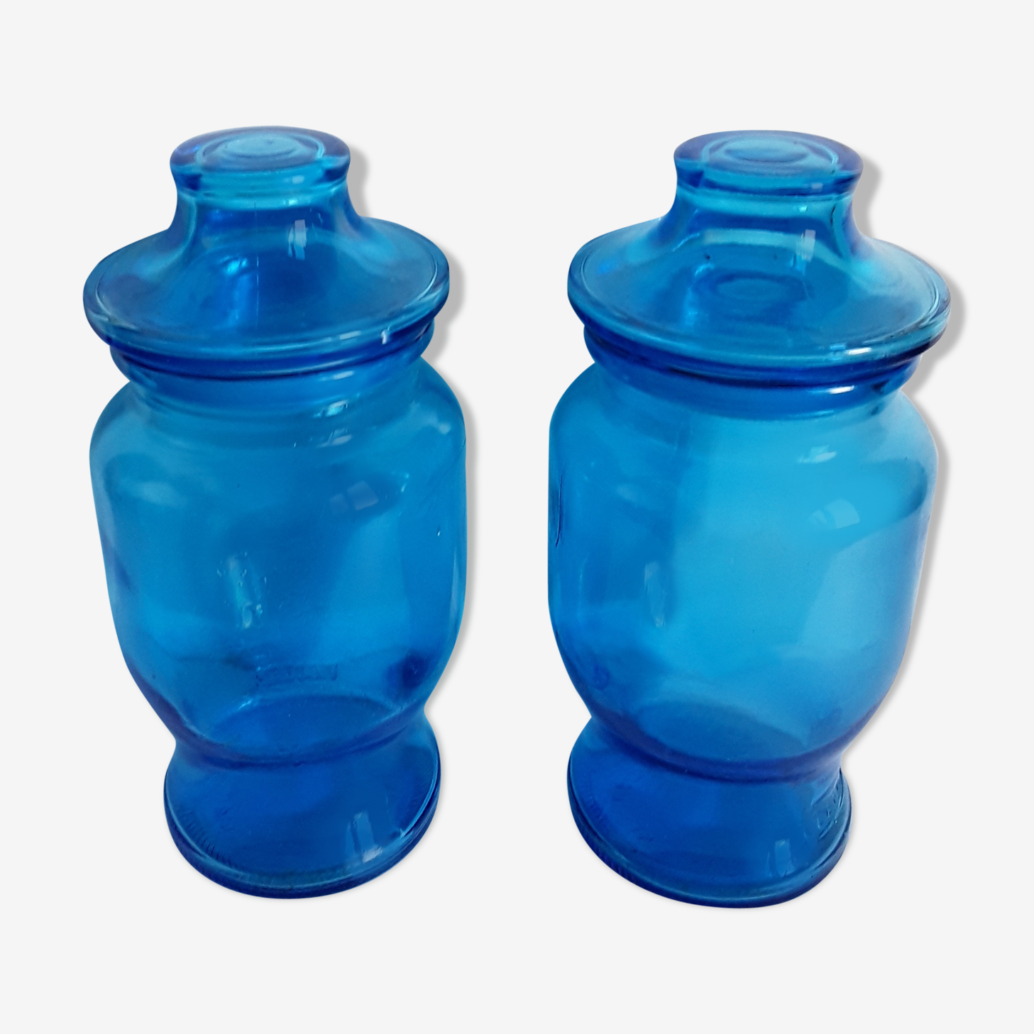 Vintage blue glass bottles 60