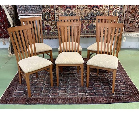 Suite de 6 chaises en teck années 80