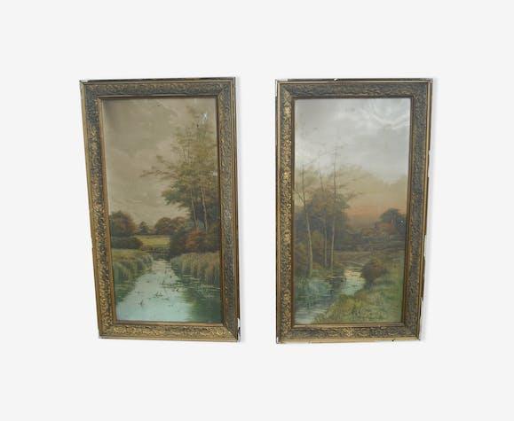 2 watercolours signed 68.5 / 38.5- circa 1920