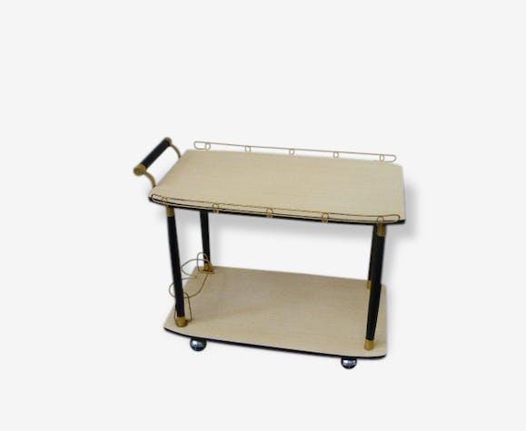 table roulante vintage et design 1950 bois et m tal dor bois mat riau multicolore. Black Bedroom Furniture Sets. Home Design Ideas