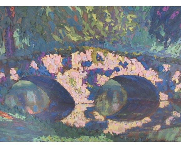 Huile sur panneau pointilliste, Le pont aux coquillages, Rambouillet
