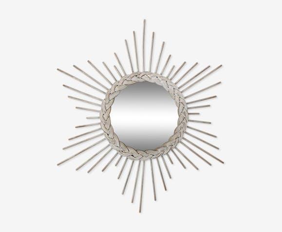 Miroir soleil vintage en rotin 54cm