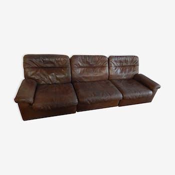 canap 3 places togo ligne roset par michel ducaroy cuir marron vintage 145166. Black Bedroom Furniture Sets. Home Design Ideas