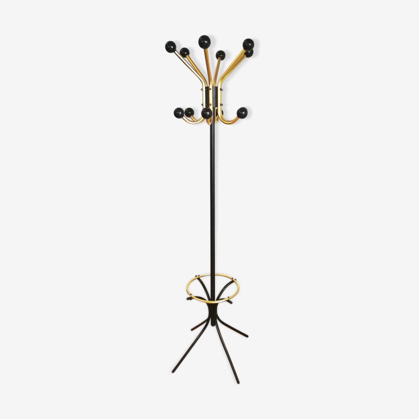 Portemanteau perroquet bistrot métal noir et or