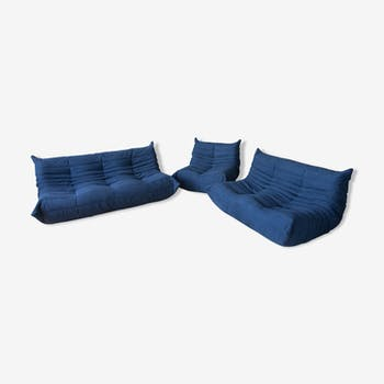 Set of 3 togo sofas in blue microfibre by Michel Ducaroy for Line Roset