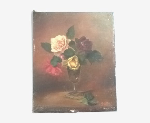 Ancient painting bouquet of roses