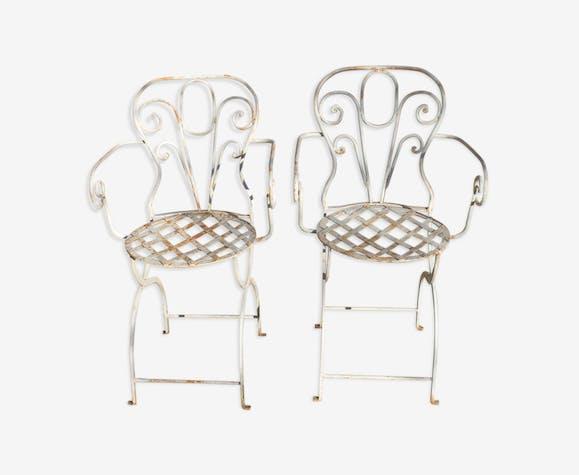 Paire de fauteuils en fer forgé