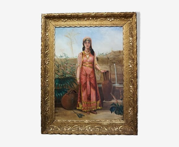 """Ancien tableau """"Femme au puits"""" par Strebelle"""
