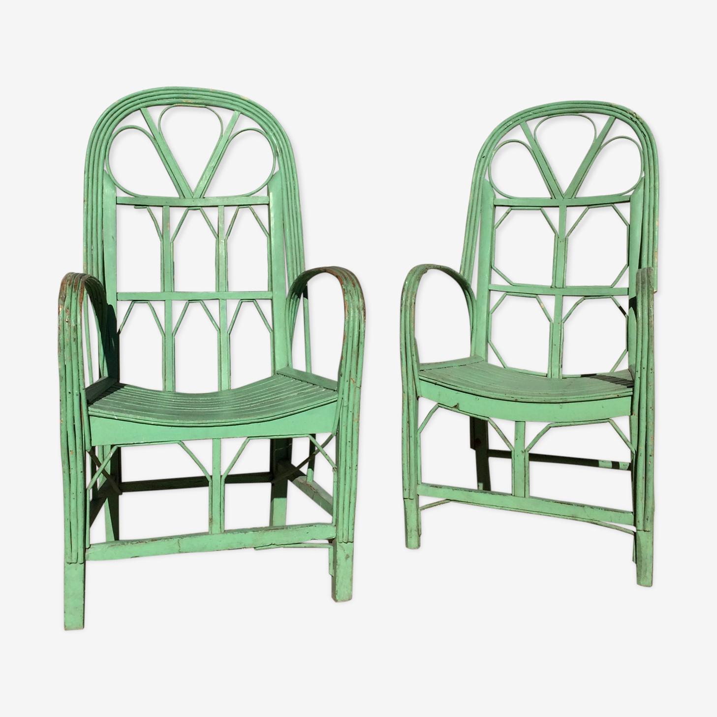 Paire de fauteuils vert