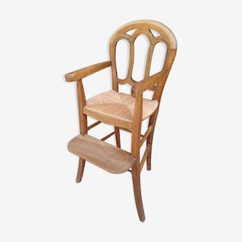 Chaise haute paillée