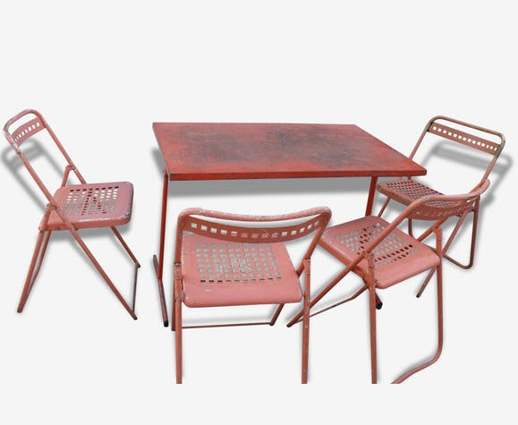 Lot 4 chaises jardin + table metal indus salon pliant - fer - orange ...