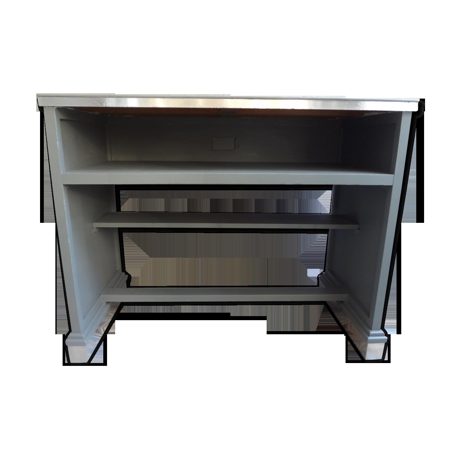 Bureau bois peint bois matériau gris vintage zd avvg