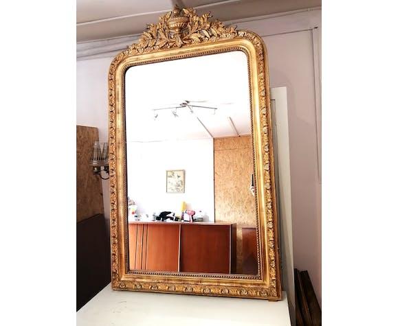 Miroir ancien Louis Philippe avec fronton 142x81cm