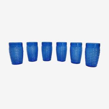 Lot de 6 verres vintage en verre bleu
