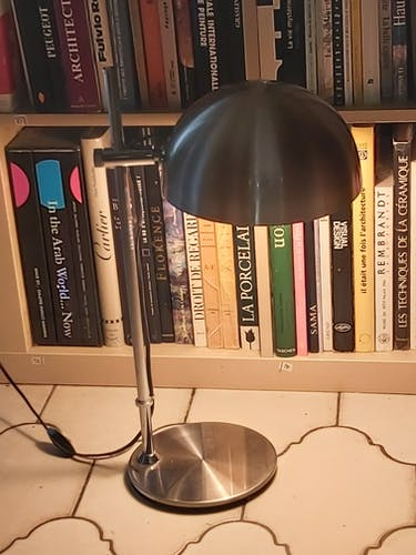 Lampe métal métal chromé et brossé 1970