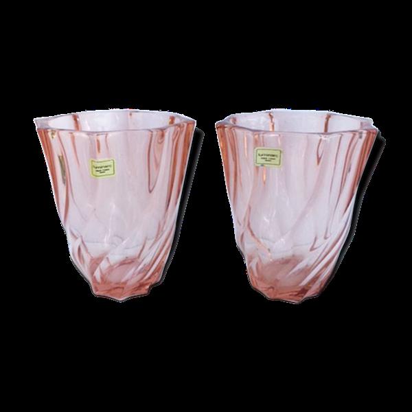 Paire de vases vieux rose