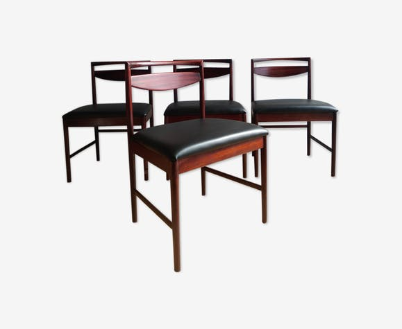Lot de4 chaises en palissandre et skaï noir 1960