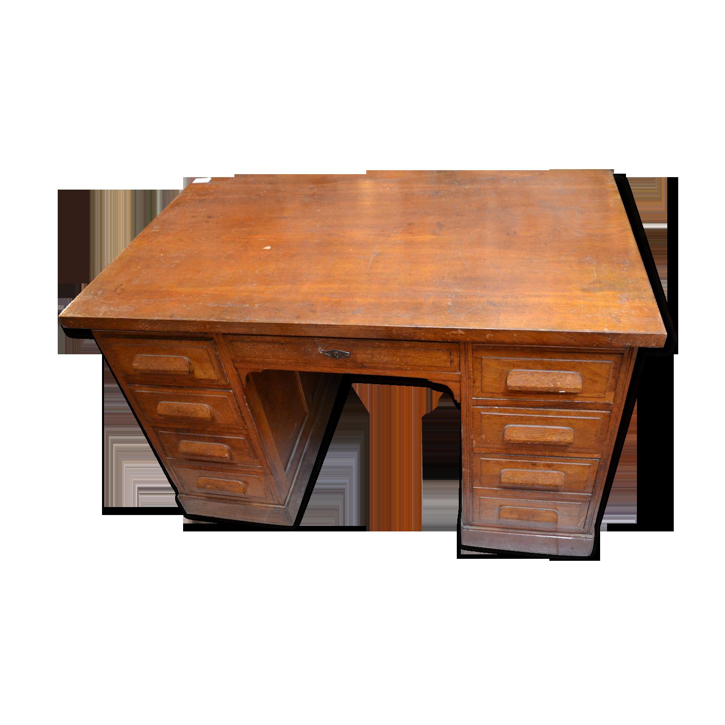 Bureau administratif chêne bois matériau marron vintage