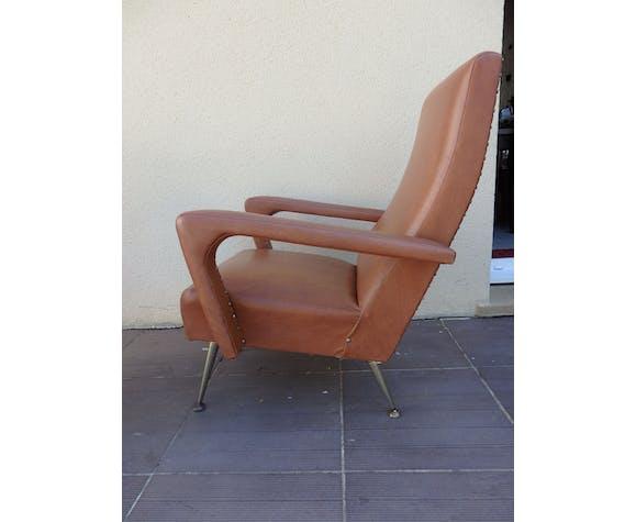 Pair of vintage armchair shape brown skai design