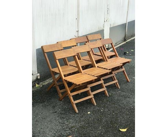 Ensemble de chaises pliantes vintage en bois
