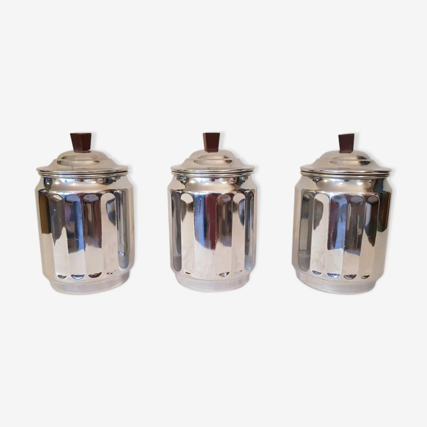Lot de 3 pots en métal chromé et poignée bakélite 50s