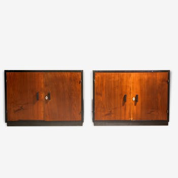Pair of furniture lacquered black Deco