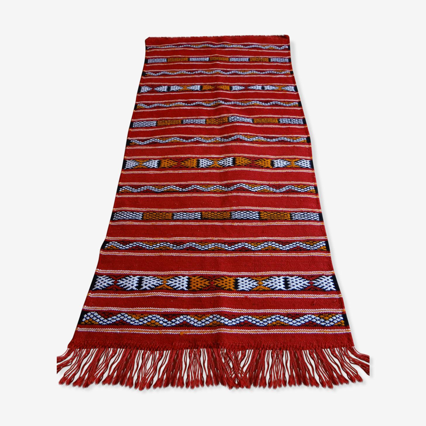 Tapis Kilim original du Moyen Atlas Maroc - coloration naturelle 165x65 cm