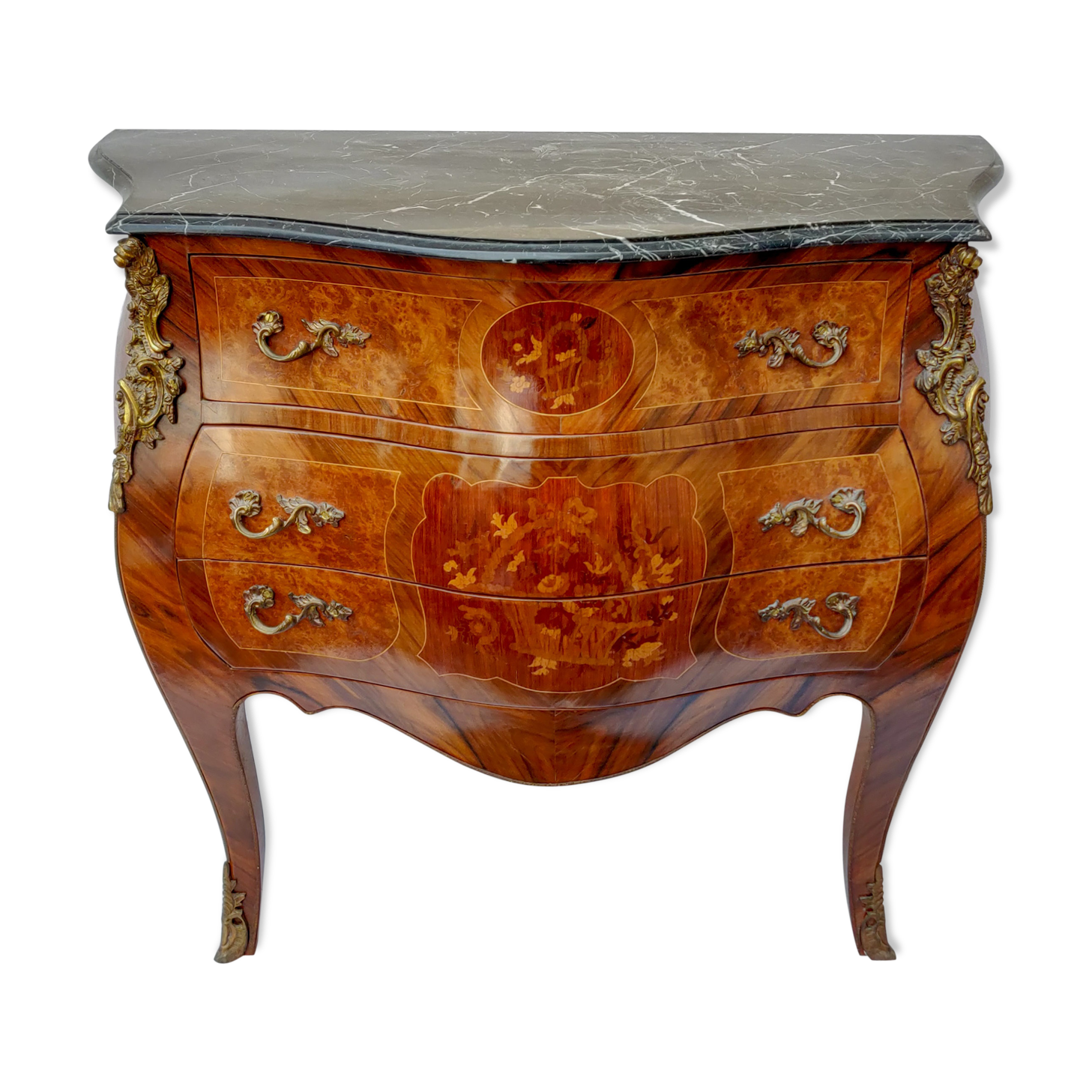 Commode Style Louis XV En Bois Verni Et Marbre Noir